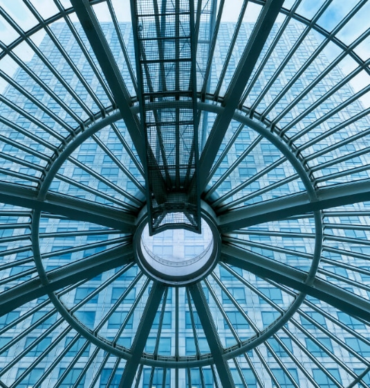 Image of a glass ceiling in large office