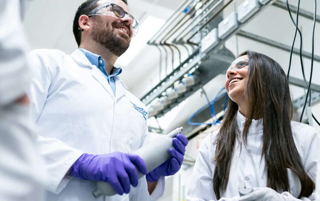 Scientist laughing in the lab